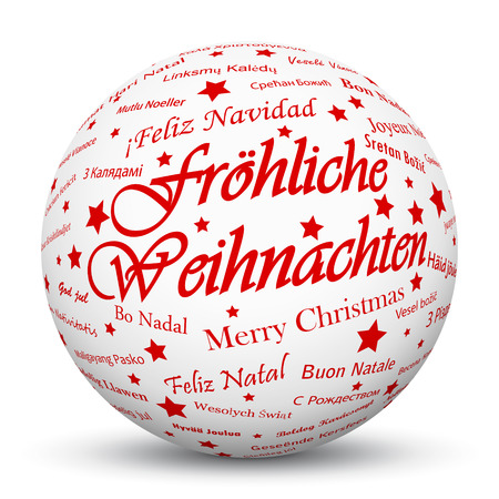 mapped: White 3D Sphere with Mapped Merry Christmas Texture on White Background and Smooth Shadow in German Language. Holiday Season - Christmas Greeting Card - Symbol, Decoration, Decor, Icon.