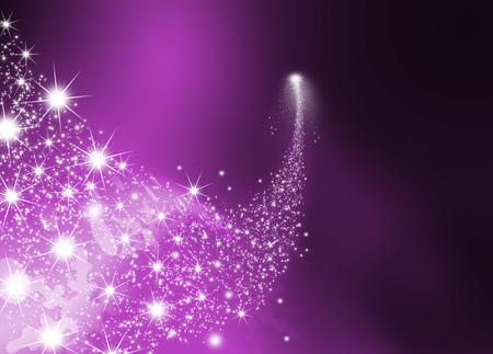 lucero: Resumen brillante Falling Star - Shooting Star con centelleantes estrellas Trail en violeta oscuro Resumen Antecedentes - Meteoritos, el cometa, asteroide - Telón de fondo Ilustración Gráfica
