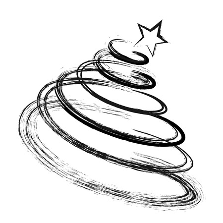 shape silhouette: Abstract Drawing Christmas Fir Tree Black Silhouette with Sketch Effect. Doodle, Shape Symbol