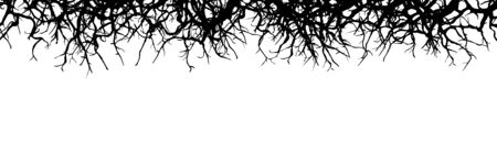 dead wood: Dead Branch Panorama Banner - Silhouette - Horizontal Vector Background