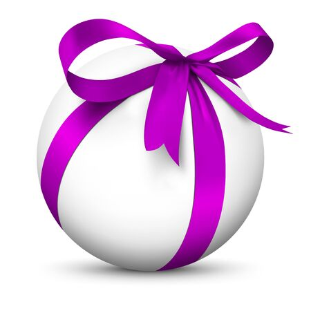 boxed: White 3D Sphere with Beautiful Wrapped Violet Ribbon Gift Package - Isolated on White Background with Smooth Shadow - Present, Christmas Gift, Surprise, Bow - Graphic Illustration