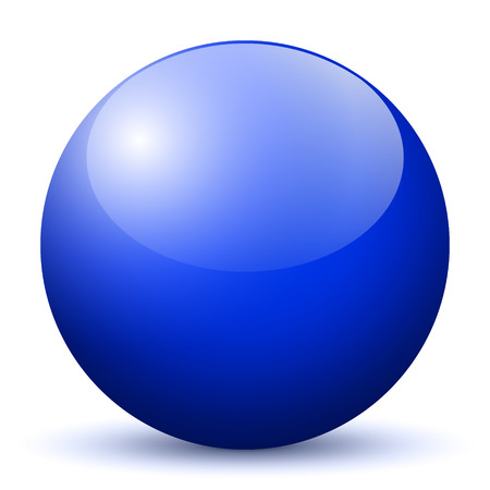 blue ball: Beautiful Dark Blue 3D Vector Sphere with Smooth Shadow and White Background - Marble, Glossy, Glass, Ball, Pearl, Globe - With Bright Reflection