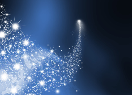 Abstract Bright Falling Star - Shooting Star with Twinkling Star Trail on Dark Blue Abstract Background - Meteoroid, Comet, Asteroid - Backdrop Graphic Illustration