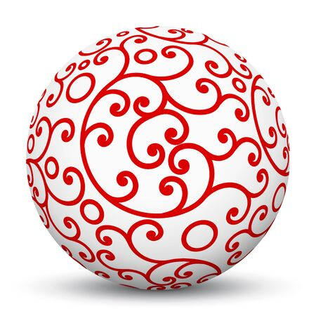 holiday season: White 3D Sphere with Mapped Red Aesthetic Texture Pattern on White Background and Smooth Shadow. Holiday Season - Christmas Symbol, Decoration, Decor, Icon.