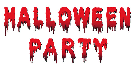 Halloween Party Text - Words are Written in Blood with Blood Drops and Gradient - Vector Illustration with White Background