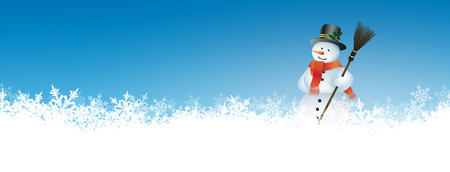 Abstract Winter Panorama Background with Azure Blue Sky and Snowman. Backdrop with Snow Flakes on the Ground. Banner, Website Head Template.