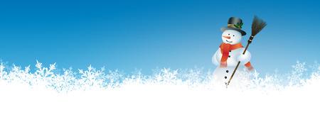 bonhomme de neige: Résumé Contexte hiver Panorama avec Azure Blue Sky et bonhomme de neige. Toile de fond avec des flocons de neige au sol. Bannière, Site Web Template Head. Banque d'images