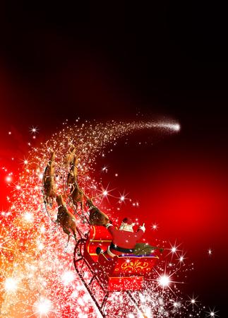 Weihnachtsmann mit Rentier Schlitten-Reiten auf einer Sternschnuppe. Abstrakt Ferienzeit Weihnachts-Design mit roten Gradienten Hintergrund. Shooting Star, Meteor, Comet - X-Mas, Xmas Greeting Card.