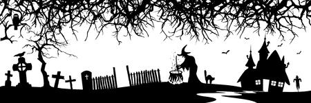 czarownica: Streszczenie Halloween Panorama Banner - sylwetka - Oddział, czarownica, dom, kota, grób - Kształty Czarne Zdjęcie Seryjne