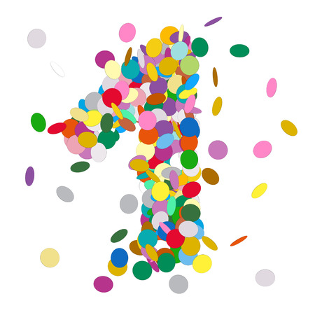 1: Abstract Colorful Vector Confetti Number One - 1 - Birthday, Party, New Year, Jubilee - Number, Figure, Digit