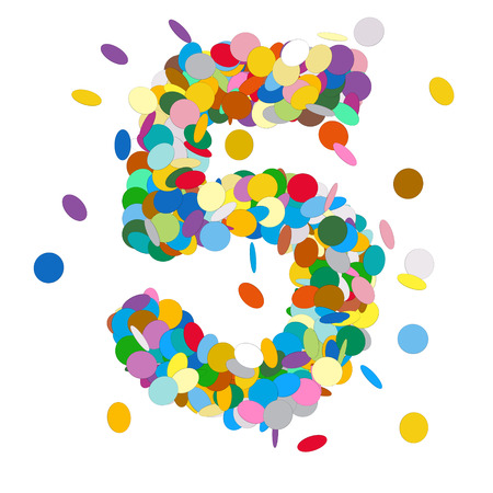 Abstract Colorful Vector Confetti Number Five - 5 - Birthday, Party, New Year, Jubilee - Number, Figure, Digit Stock Photo