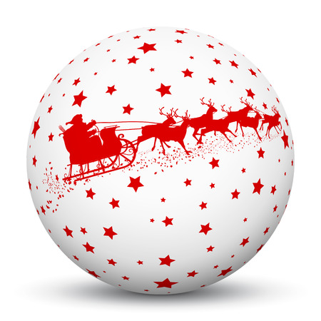holiday season: White 3D Sphere with Red Starlets and Santa Claus with Reindeer Sled Texture on White Background. Holiday Season - Christmas Greeting Card - Symbol, Decoration, Decor, Icon.