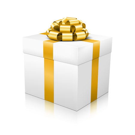 corded: White Beautiful Vector Gift Box with Golden Elegant Corded Ribbon on White Background and Smooth Reflection on Ground - Package, Box, Christmas, Easter, Surprise