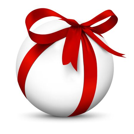 christmas gift: White 3D Sphere with Beautiful Wrapped Red Ribbon Gift Package - Isolated on White Background with Smooth Shadow - Present, Christmas Gift, Surprise, Bow - Graphic Illustration