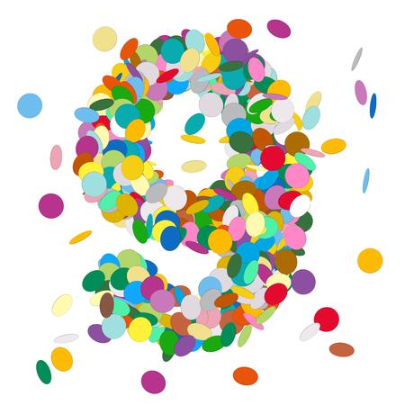 numero nueve: Resumen de vectores de colores Número Confeti nueve - 9 - Cumpleaños, Fiesta, Año Nuevo, Jubilee - Número, figura, Digit Foto de archivo