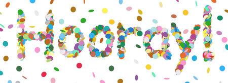 hooray: Abstract Confetti Word - Hooray Letter - Colorful Panorama Vector Illustration with Colored Chads Particle Stock Photo