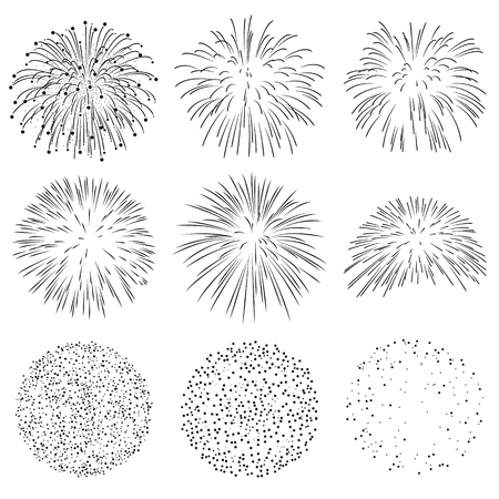 Collection of Vector Firework Rocket Explosion Sparks - Design Template Set of Effective Rocket Explosion Particle - Pyrotechnics Black Shapes