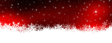 Abstract Panorama van de Winter Achtergrond met Starry Night Sky Red. Achtergrond met sneeuwvlokken op de grond. Banner, Website Head. Kerstkaart en Holiday Season Template. Stockfoto