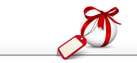 advertising logo: White Sphere with Red Bow and Blank Gift Coupon Panorama website banner on white background with Freespace for Advertising or logo. Price Label, Gift Voucher for Holiday Season.