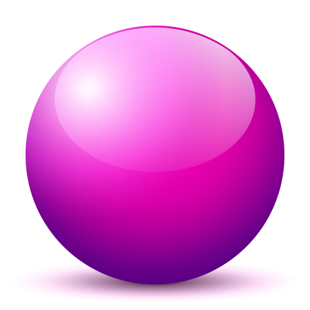 glass reflection: Beautiful Purple 3D Vector Sphere with Smooth Shadow and White Background - Marble, Glossy, Glass, Ball, Pearl, Globe - With Bright Reflection Stock Photo