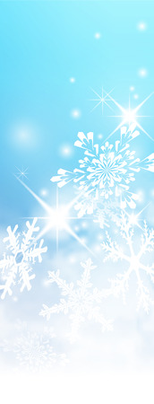 Abstract Light Blue, Turquoise - Vertical Winter Background Banner - with Snowflakes and Starlets. Cold and Foggy Backdrop with Soft Highlights and Snow Flakes. Stock Photo