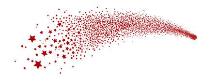 Abstrakt Falling Star - Rot Shooting Star mit eleganten Sternenspur auf weißem Hintergrund - Meteoroid, Komet, Asteroid, Sterne - New Years Eve, glückliche Grüße und Ferienzeit Symbol, Icon, Kontur.