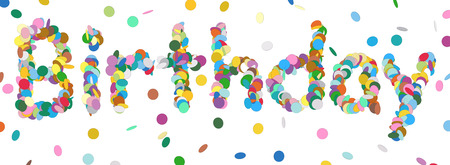 chads: Abstract Confetti Word - Birthday Letter - Colorful Panorama Vector Illustration with Colored Chads Particle