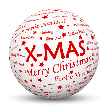 mapped: White 3D Sphere with Mapped X-MAS Texture Pattern on White Background. Holiday Season - Christmas Greeting Card - Symbol, Decoration, Decor, Icon.