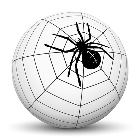 mortally: Abstract Garden Spider with Cobweb on Sphere with White Background - Vector Illustration