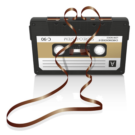 compact cassette: Audio Cassette with Curved Tape and White Background - Old Retro Compact Cassette - Graphic Illustration
