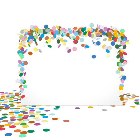 text free space: Abstract Colourful Horizontal Vector Confetti Panel with Free Text Space - Greeting card Vector Template