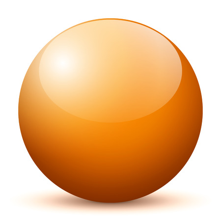 Beautiful Orange 3D Vector Sphere with Smooth Shadow and White Background - Marble, Glossy, Glass, Ball, Pearl, Globe - With Bright Reflection