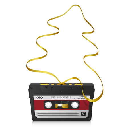 compact cassette: Audio Cassette with Abstract Curved Golden Tape and White Background - Old Retro Compact Cassette - Fir Tree Shape
