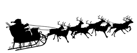 santa claus background: Santa Claus with Reindeer Sleigh - Black Silhouette - Outline Shape of Sledge, Sled - Holiday Season Symbol - Christmas, XMas, X-Mas. Stock Photo