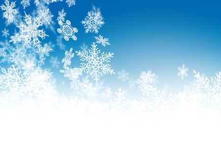 紺碧 - 冬の背景 - 落ちる繊細な雪の結晶を抽象化します。寒さと霧背景ソフト ハイライトと雪の結晶。