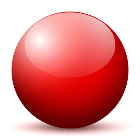 red sphere: Beautiful Red 3D Vector Sphere with Smooth Shadow and White Background - Marble, Glossy, Glass, Ball, Pearl, Globe - With Bright Reflection
