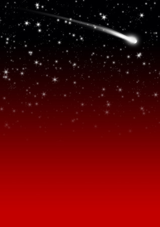 tails: Simple Red Starry Night Sky Background with Falling Star Tail. Backdrop Image Template with Gradient and Free Space for Text or Advertising. Holiday Season Design. Stock Photo