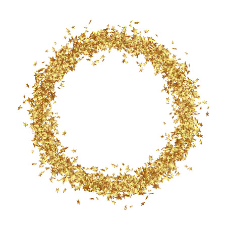 Round Frame Consists from Golden Asterisks on White Background - Golden Confetti Stars Border