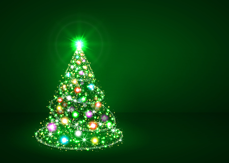 Abstract Twinkling Bright Colourful Fir Tree on Dark Green Background - Christmas Greeting Card Template - Xmas, Holiday Season, X-Mas