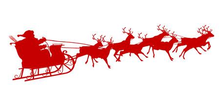 Santa Claus with Reindeer Sleigh - Red Silhouette - Outline Shape of Sledge, Sled - Holiday Season Symbol - Christmas, XMas, X-Mas. 写真素材