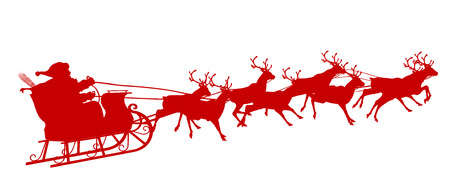 santa claus background: Santa Claus with Reindeer Sleigh - Red Silhouette - Outline Shape of Sledge, Sled - Holiday Season Symbol - Christmas, XMas, X-Mas. Stock Photo