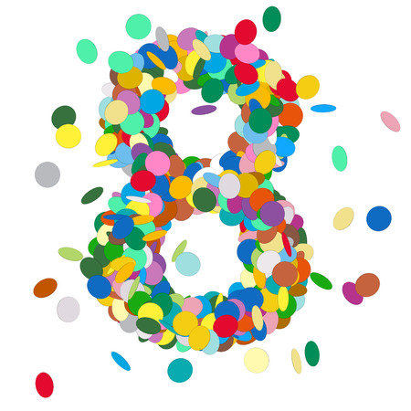 chads: Abstract Colorful Vector Confetti Number Eight - 8 - Birthday, Party, New Year, Jubilee - Number, Figure, Digit