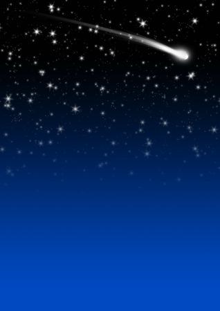 Simple Blue Starry Night Sky achtergrond met Falling Star Tail. Achtergrond Template Afbeelding met Gradient en vrije ruimte voor tekst of Advertising. Holiday Season Design.