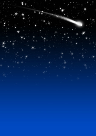 skies: Simple Blue Starry Night Sky Background with Falling Star Tail. Backdrop Image Template with Gradient and Free Space for Text or Advertising. Holiday Season Design.
