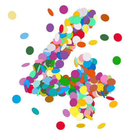 chads: Abstract Colorful Vector Confetti Number Four - 4 - Birthday, Party, New Year, Jubilee - Number, Figure, Digit