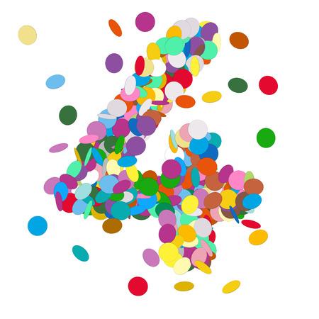 aniversario de boda: Resumen de vectores de colores Número Confeti Cuatro - 4 - Cumpleaños, Fiesta, Año Nuevo, Jubilee - Número, figura, Digit Foto de archivo