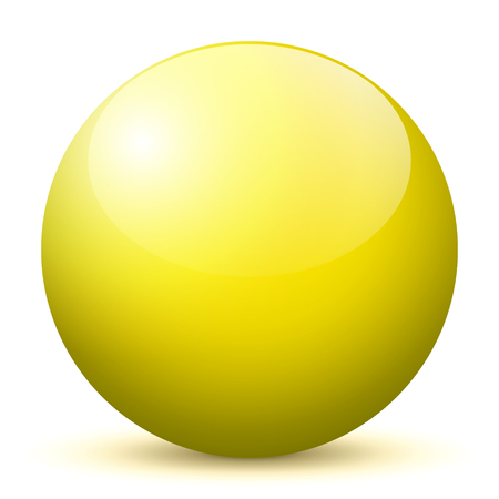 Beautiful Yellow 3D Vector Sphere with Smooth Shadow and White Background - Marble, Glossy, Glass, Ball, Pearl, Globe - With Bright Reflection