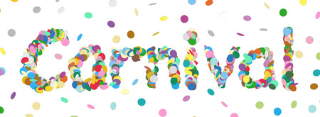 chads: Abstract Confetti Word - Carnival Letter - Colorful Panorama Vector Illustration with Colored Chads Particle