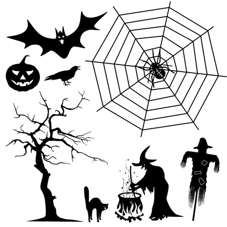 sibyl: Halloween Silhouette Collection Set - Black Shapes - Spider, Witch, Pumpkin, Cat, Raven, Bat - Vector Illustration Stock Photo