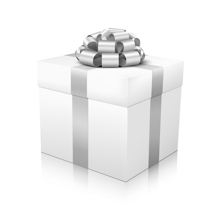 corded: White Beautiful Vector Gift Box with Silver Coloured Elegant Corded Ribbon on White Background and Smooth Reflection on Ground - Package, Box, Christmas, Easter, Surprise